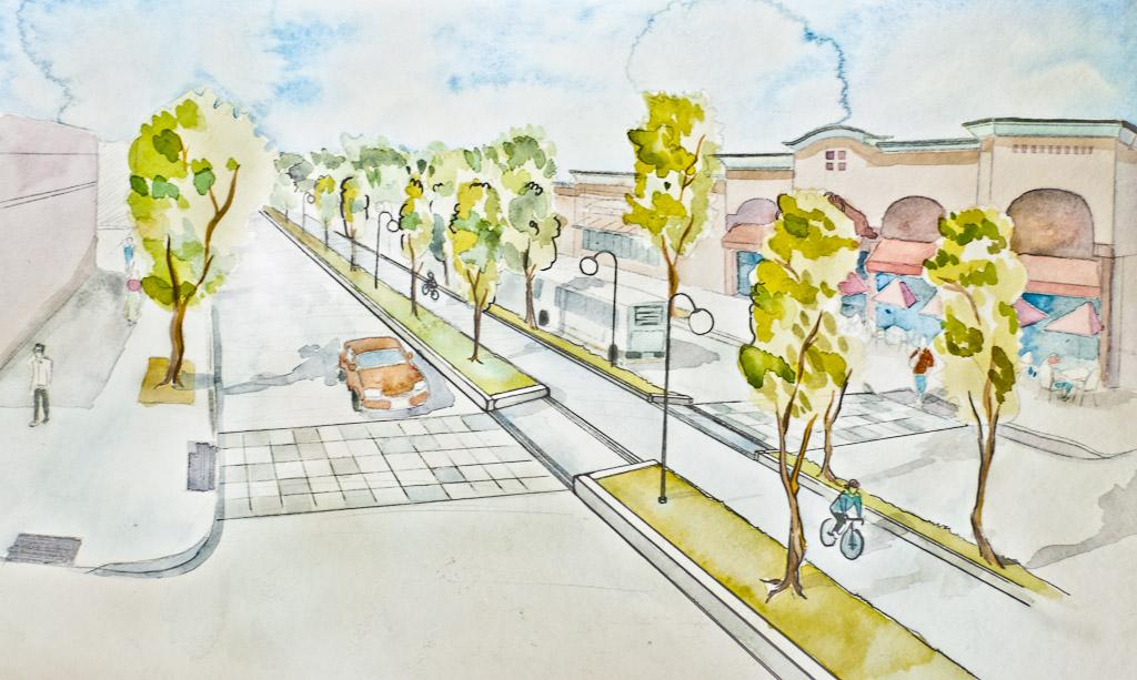 Bicycle Boulevard Concept for the Alameda, San Jose, USA (design: Patrick Lydon, illustration: Chiaki Koyama | sociecity)