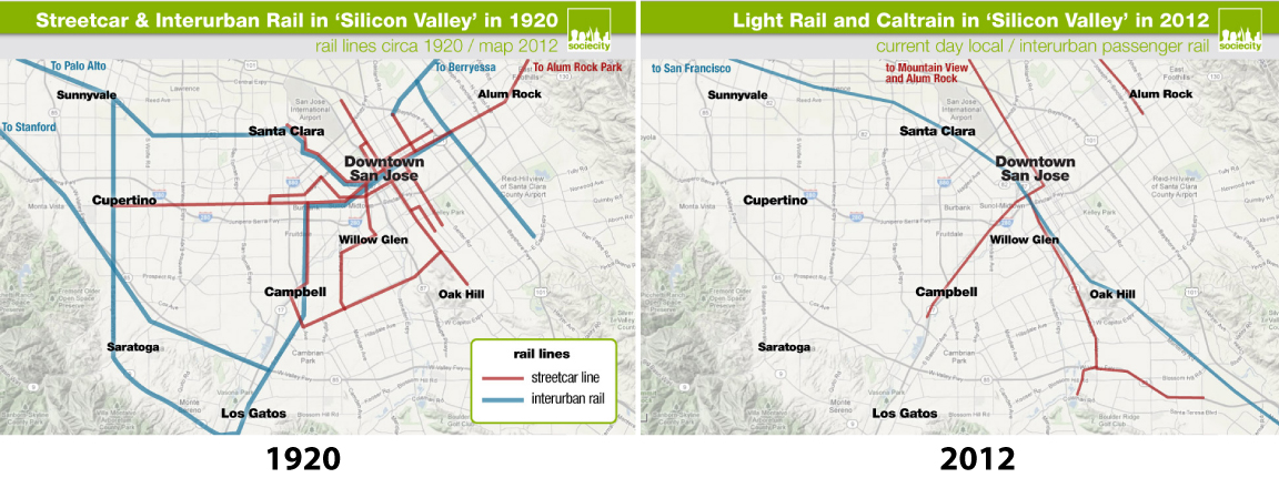 Silicon Valley (Santa Clara Valley) Light Rail and Interurban Rail Lines in 1920 and 2012 (Illustration, P.M. Lydon | sociecity)