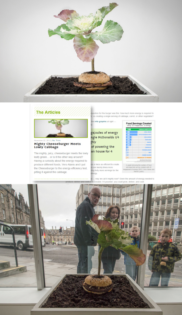 "Images from the ""What is Food / Cabbage Eating a Hamburger"" installation and SocieCity article"
