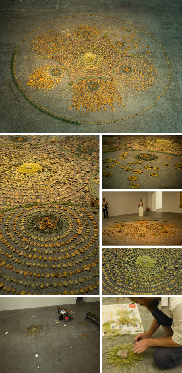 Images of the Osakako Mandala and installation process at Contemporary Art Space Osaka, Japan