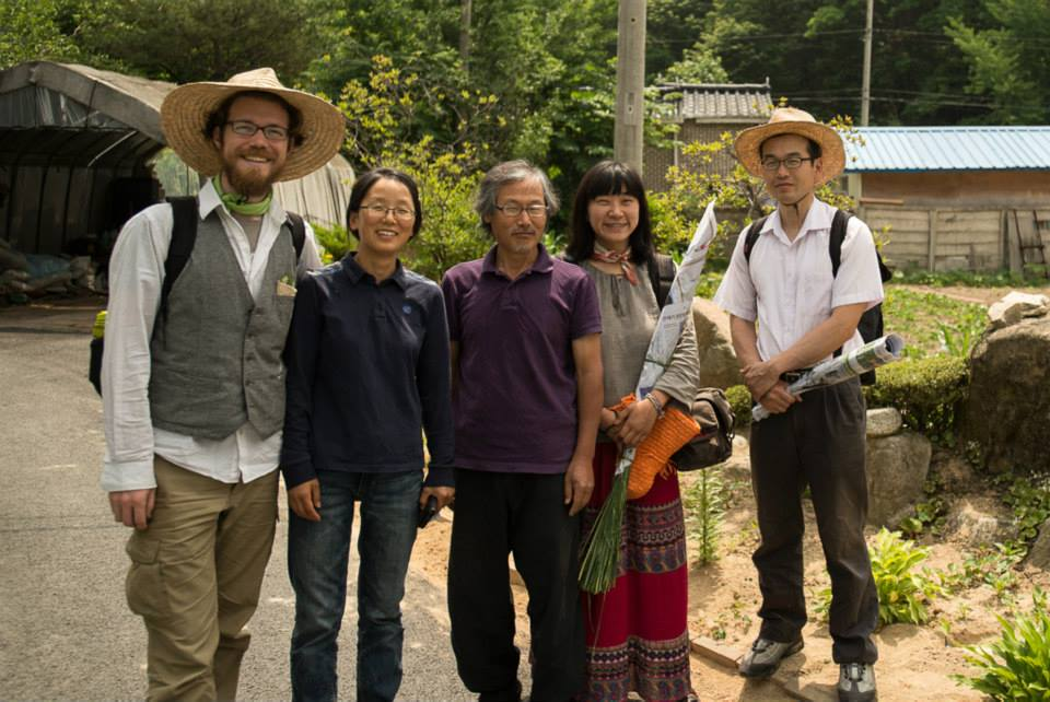 Patirck and Suhee with natural farmer Seong Hyun Choi at his farm in Hongcheon, South Korea.