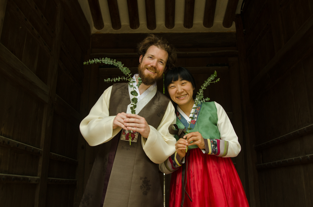 "Patrick and Suhee in their traditional ""Hanbok"" outfits in Seoul!"