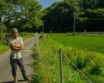 Onami san at the edge of his natural rice farm in Urugi