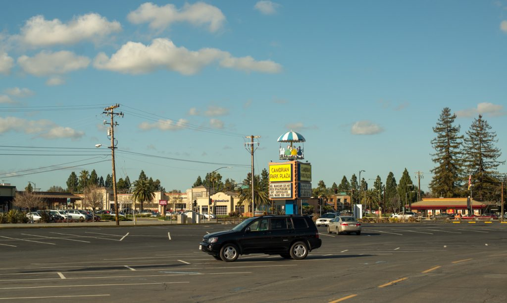 A typical shopping area where the author grew up in San Jose, California / image: Patrick M. Lydon