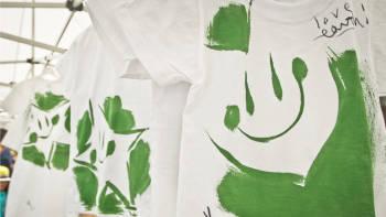 Professor Hoseob Yoon's green design shirt paintings hang to try in Seoul, South Korea (photo: P.M. Lydon)
