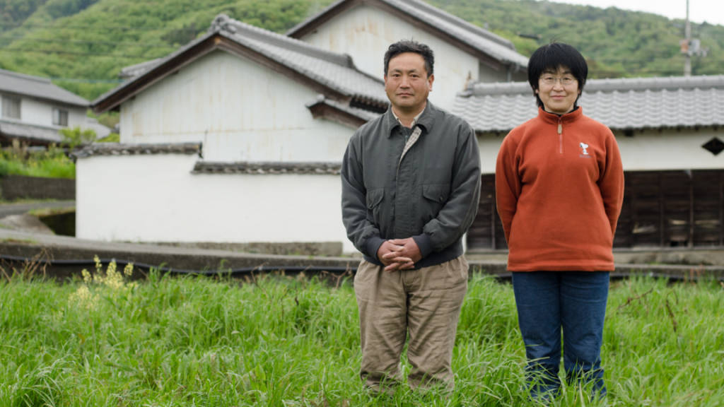 Natural farmer Mr. Oktsu and wife at their farm in Awa, Japan (photo: Patrick M. Lydon)