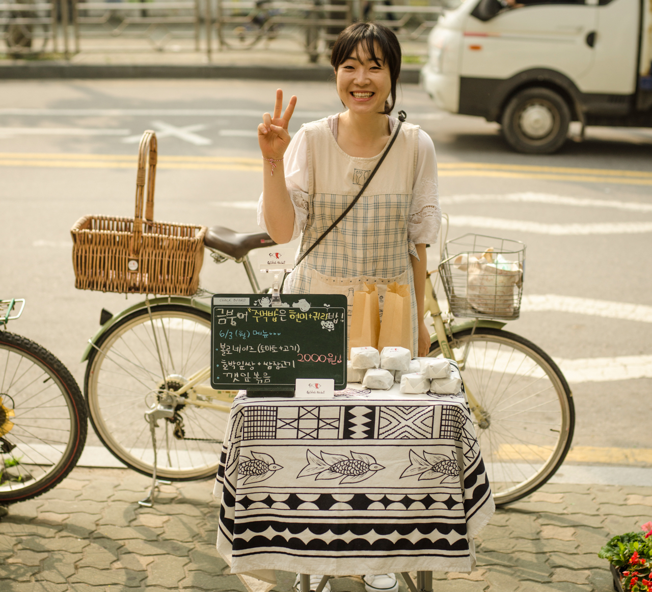 Chef GaYoung and her first bicycle-based shop in Seoul, South Korea. Image: Patrick Lydon