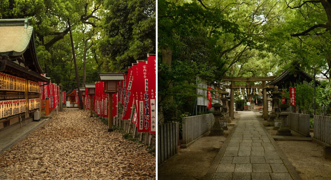Sumiyoshi Taisha (left) and Tenjinnomori Tenmangu (right), two of the many urban Shinto shrines in Osaka, Japan. Photos: Patrick M. Lydon, cc by-sa