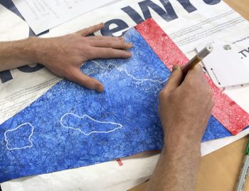 A 'signaling water' flag workshop by Robin Lasser and Marguerite Perret